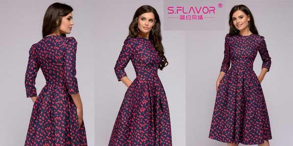Vestido de entretiempo estampado S.Flavour estilo vintage con manga tres cuartos para mujer chollo en AliExpress
