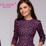 Vestido de entretiempo estampado S.Flavour estilo vintage con manga tres cuartos para mujer barato en AliExpress