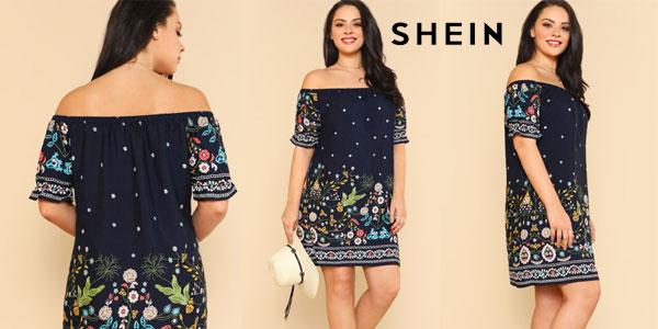 original de costura caliente Mitad de precio comprar bien Chollo Vestido Shein estampado floral y hombros al aire en ...