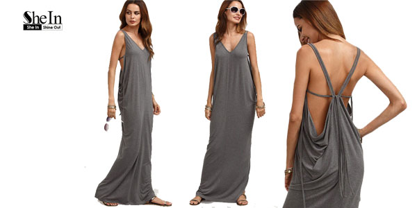 Vestido SheIn con espalda jaula en color gris