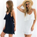Vestido corto Gwirpte de tirantes con estampado de lunares para mujer barato en AliExpress