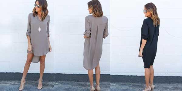 Vestido camisero para mujer barato