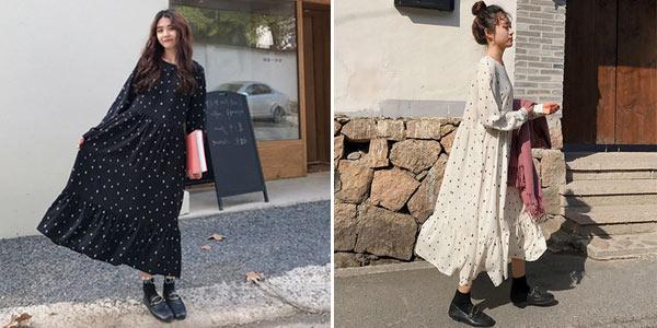 Vestido largo con lunares barato en AliExpress