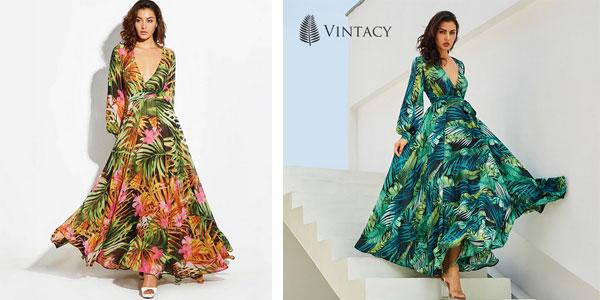 Vestido vintage largo de manga larga de estampado tropical barato en AliExpress