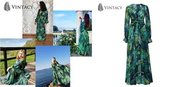 Vestido vintage largo de manga larga de estampado tropical chollazo en AliExpress