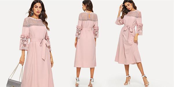 Vestido Shein rosa con mangas tres cuartos, perlas y encaje barato en AliExpress