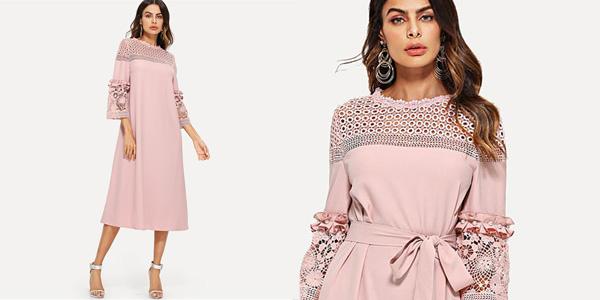 Vestido Shein rosa con mangas tres cuartos, perlas y encaje chollo en AliExpress