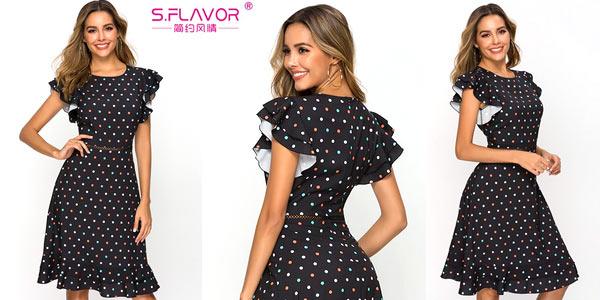 Vestido negro de lunares S.Flavor barato en AliExpress