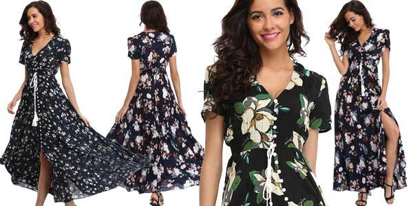 Vestido maxi largo con estampado floral para mujer barato en AliExpress
