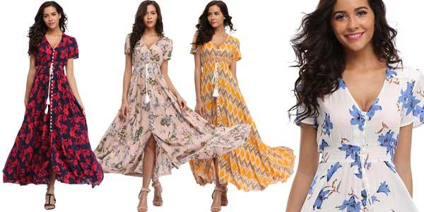 Vestido maxi largo con estampado floral para mujer chollo en AliExpress