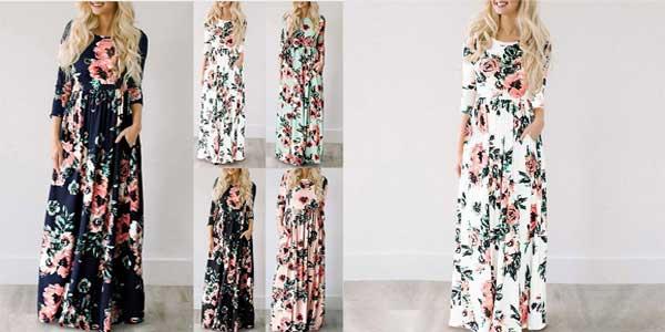 Vestido largo boho HiloRill con estampado floral para mujer barato en AliExpress