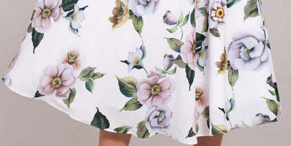 Vestido midi blanco con estampado floral chollo en AliExpress