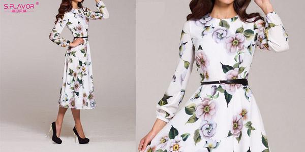 Vestido midi blanco con estampado floral barato en AliExpress