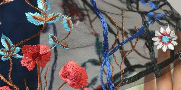 Vestido de gasa con bordado floral y manga larga negro o azul chollazo en AliExpress