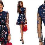Vestido de gasa con bordado floral y manga larga negro o azul barato en AliExpress