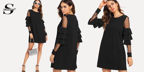 Vestido negro con transparencias y mini volantes en los hombros barato en AliExpress