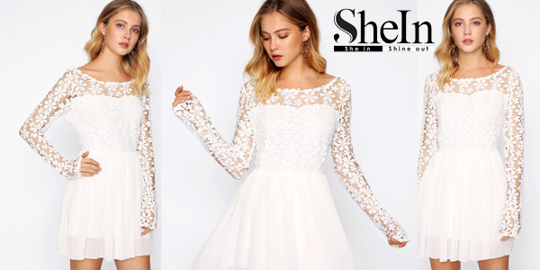 Mini Vestido swing blanco de espalda con escote en V barato en SheIn
