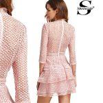 Vestido Shein Crochet estilo vintage en color rosa palo para mujer barato en Aliexpress