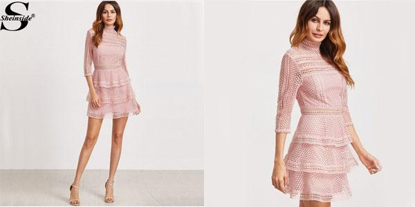 Vestido Shein Crochet estilo vintage en color rosa palo para mujer chollo en Aliexpress