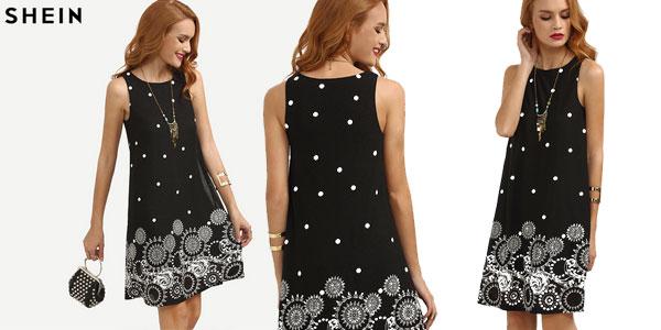 Vestido de tirantes Shein con lunares y estampado geométrico barato