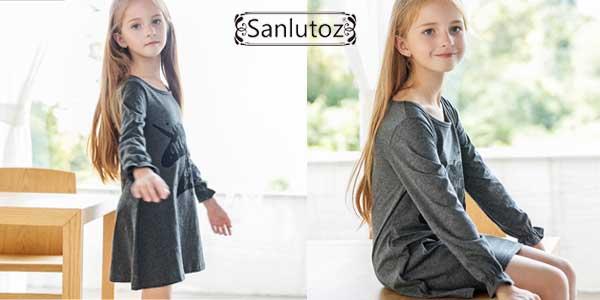 Vestido de algodón Sanlutoz en color gris con estampado de unicornio para niña chollo en AliExpress