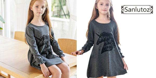 Vestido de algodón Sanlutoz en color gris con estampado de unicornio para niña barato en AliExpress