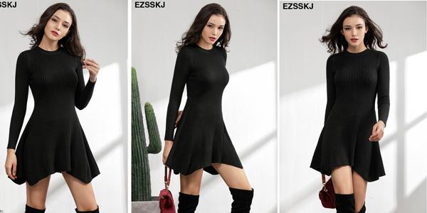 Vestido punto canale con cuello redondo y falda evasé para mujer barato en AliExpress