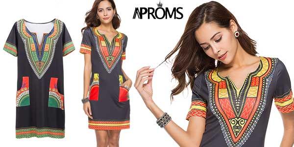 Vestido recto con manga corta y estampado dashiki en varios colores barato en AliExpress