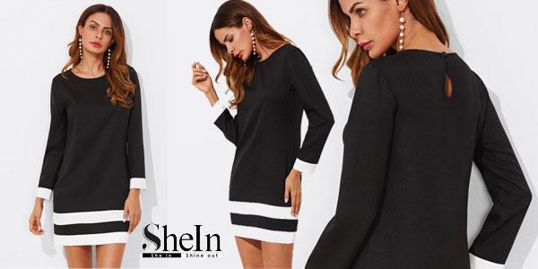 Vestido recto Shein con puños y dobladillo blanco para mujer barato en AliExpress