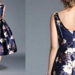 Vestido estilo vintage azul marino con flores barato en AliExpress