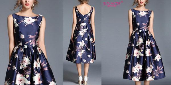Vestido estilo vintage azul marino con flores chollo en AliExpress