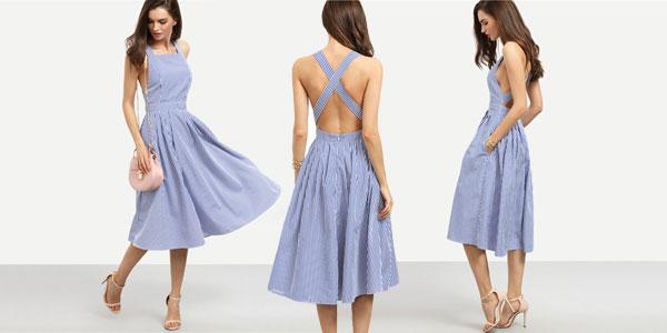 Vestido rayas azules cruzado a la espalda SHEIN