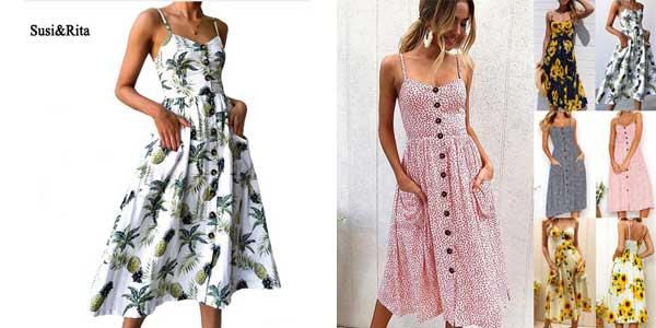 Vestido de tirantes Susi & Rita con estampado floral barato en AliExpress