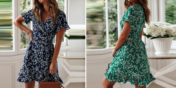 Comprar Vestido veraniego con escote en V y manga corta para mujer chollo en AliExpress