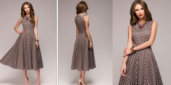 Vestido vintage para mujer con estampado de lunares