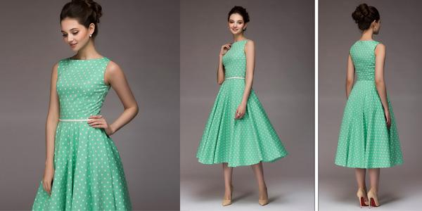 Vestido vintage con estampado de lunares en varios colores
