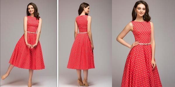 Vestido vintage para mujer con estampado de lunares barato