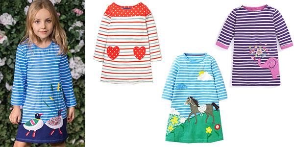 Vestido infantil en varios colores de manga larga para niña rebajado